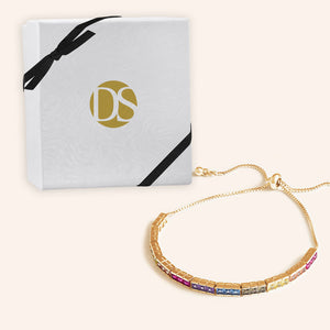 """In the WOW"" 8CTW Rainbow Princess Cut Tennis Pull-Tie Bracelet - Gold"