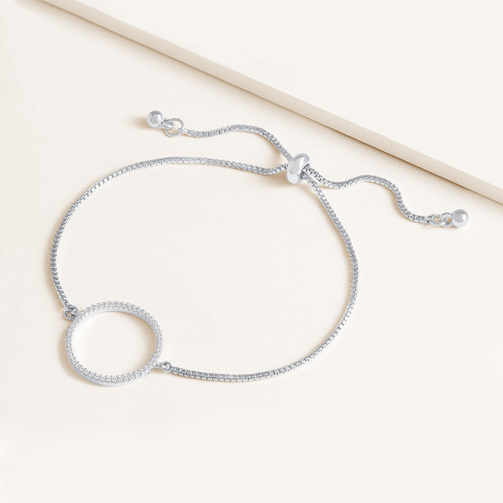 """Aura"" 0.5CTW Pave Open Center Circle Pull-Tie Bracelet"