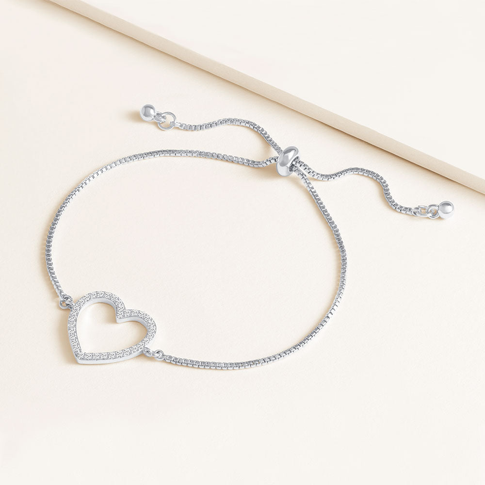 """Amara"" 0.5CTW Pave Open Center Heart Pull-Tie Bracelet"