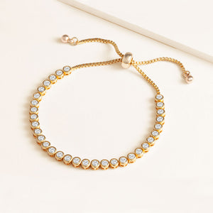 """Classic with a Twist"" 6CTW Round Cut Tennis Pull-tie Bracelet"