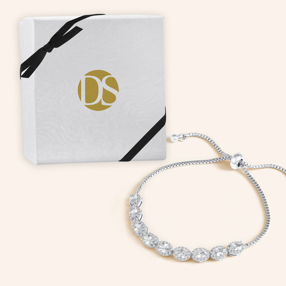 """Your Day to Shine"" 12.5CTW Halo Oval Cut Pull-Tie Bracelet"