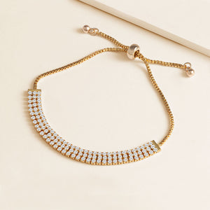 """Triple Take"" 5.5CTW Three Row Round Cut Pull-Tie Bracelet"