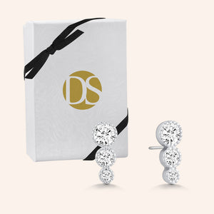 """Delicate Trio"" 1.0CTW 3 Graduated Stones Stud Earrings - Sterling Silver"