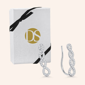"""Voyage"" 1.0CTW Pave Climber Earrings - Sterling Silver"