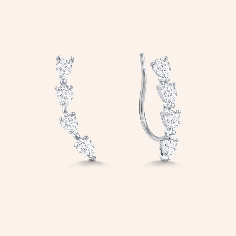 """Glam Voyage"" 2.1CTW Pear Cut Stones Climber Earrings - Sterling Silver"