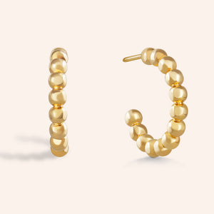 """Ora"" High Polished Beaded Midi Hoop Earrings"