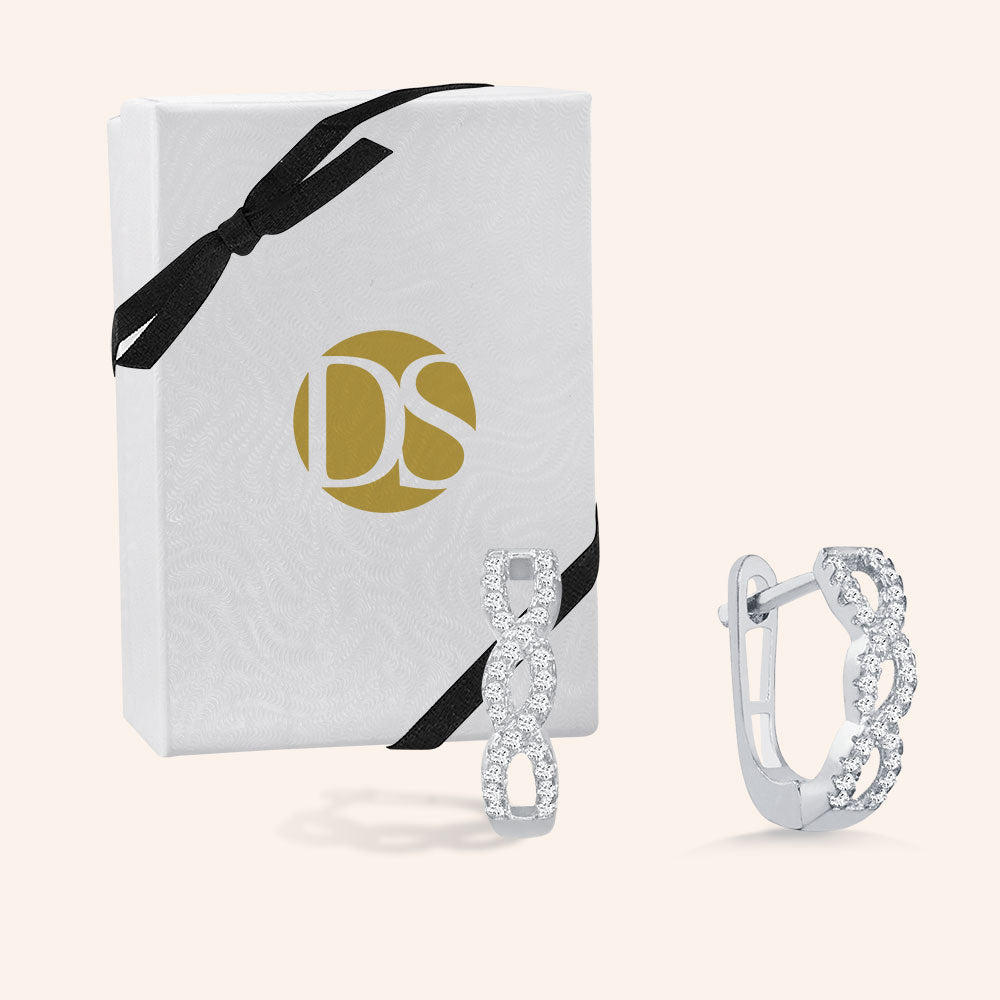 """Forever"" 0.8ctw Pave Infinity Huggie Earrings -Silver"
