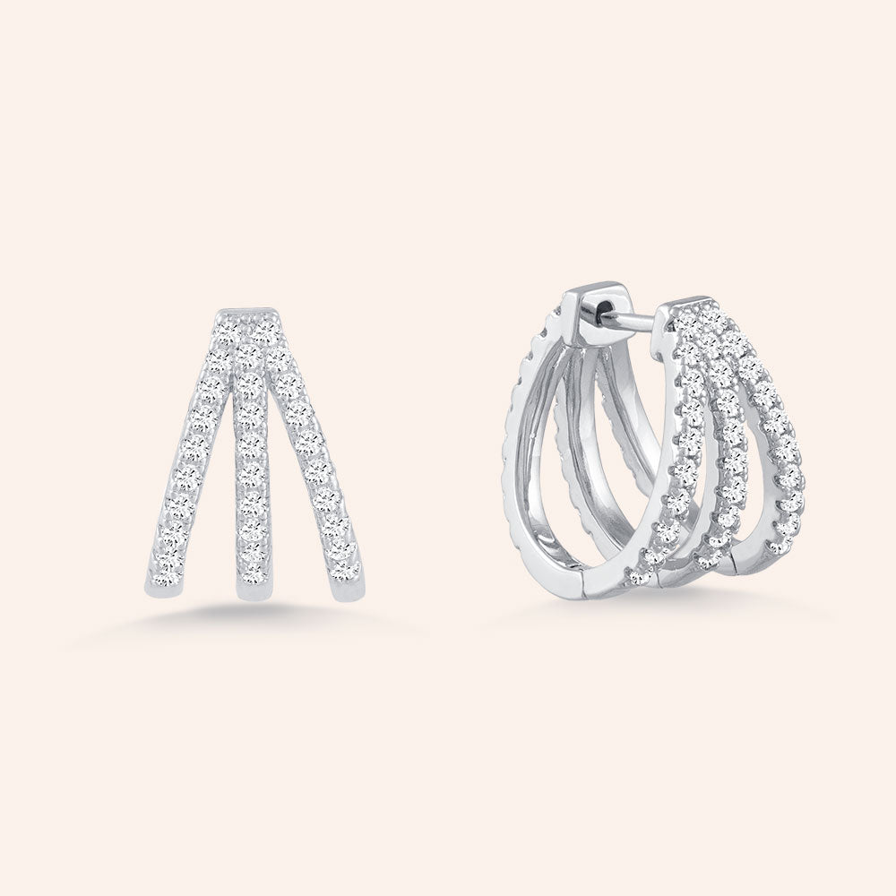"""Always Around""  1.9ctw Pave Huggie Style Hoop Earrings -Silver"