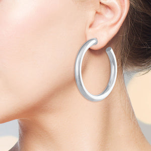 """D Essential"" High Polished Grand Round Tube Hoop Earrings - Silver"
