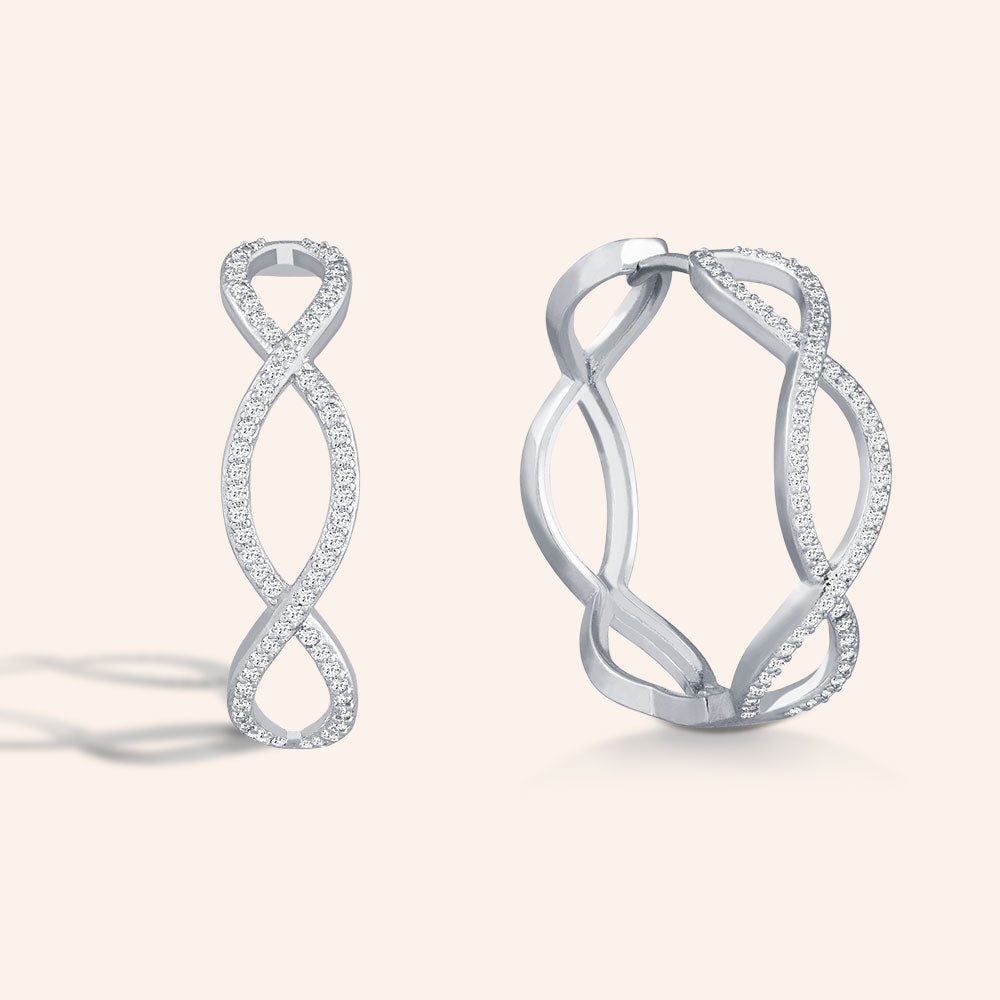 """For Always"" 1.2ctw Pave Crisscross Midi Huggie Earrings -Silver"