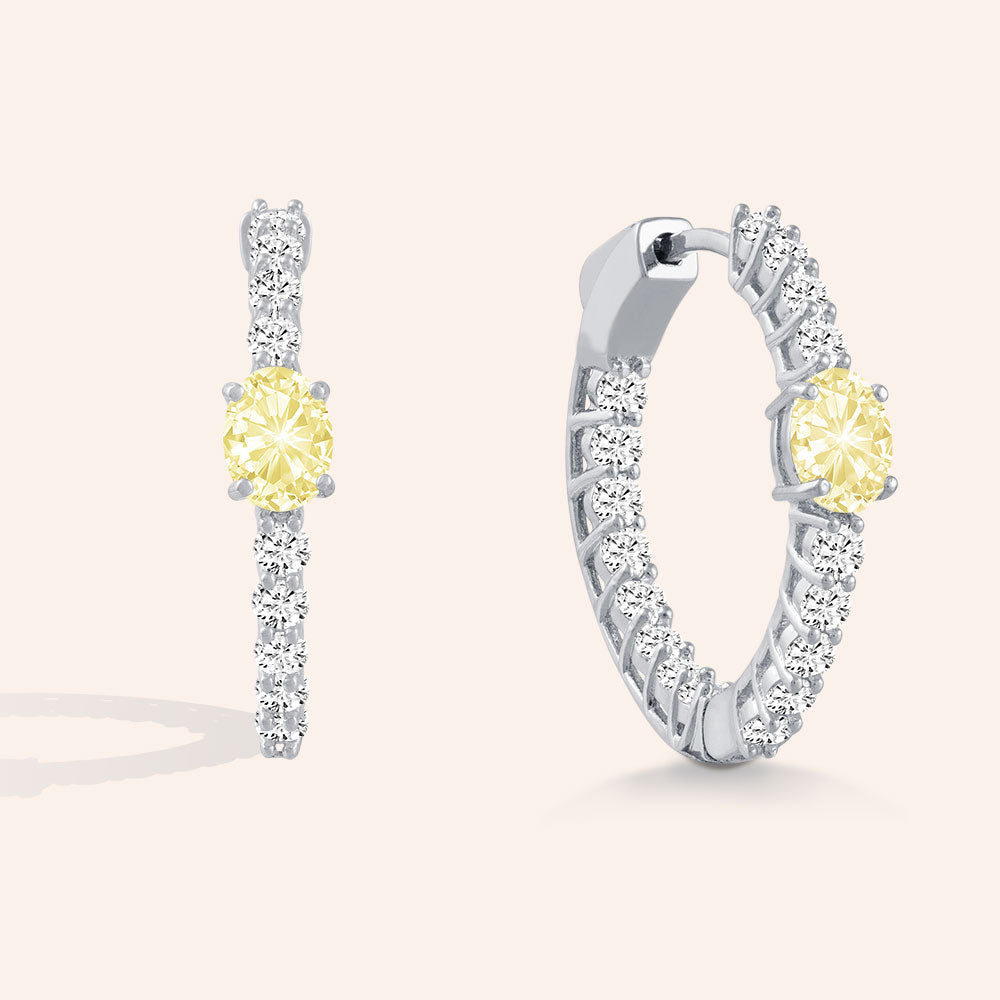 """Stay the Night"" 3.2ctw Inside-outside Oval and Round Cut Hoop Earrings - Silver / Yellow"