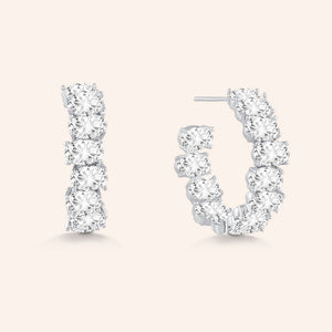 """Date Night"" 6.5ctw Inside-outside Oval Cut Hoop Earrings - Silver"