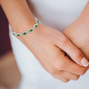 """You're a Gem"" 6.5CTW Emerald and Round Cut Tennis Bracelet - Includes Extender"