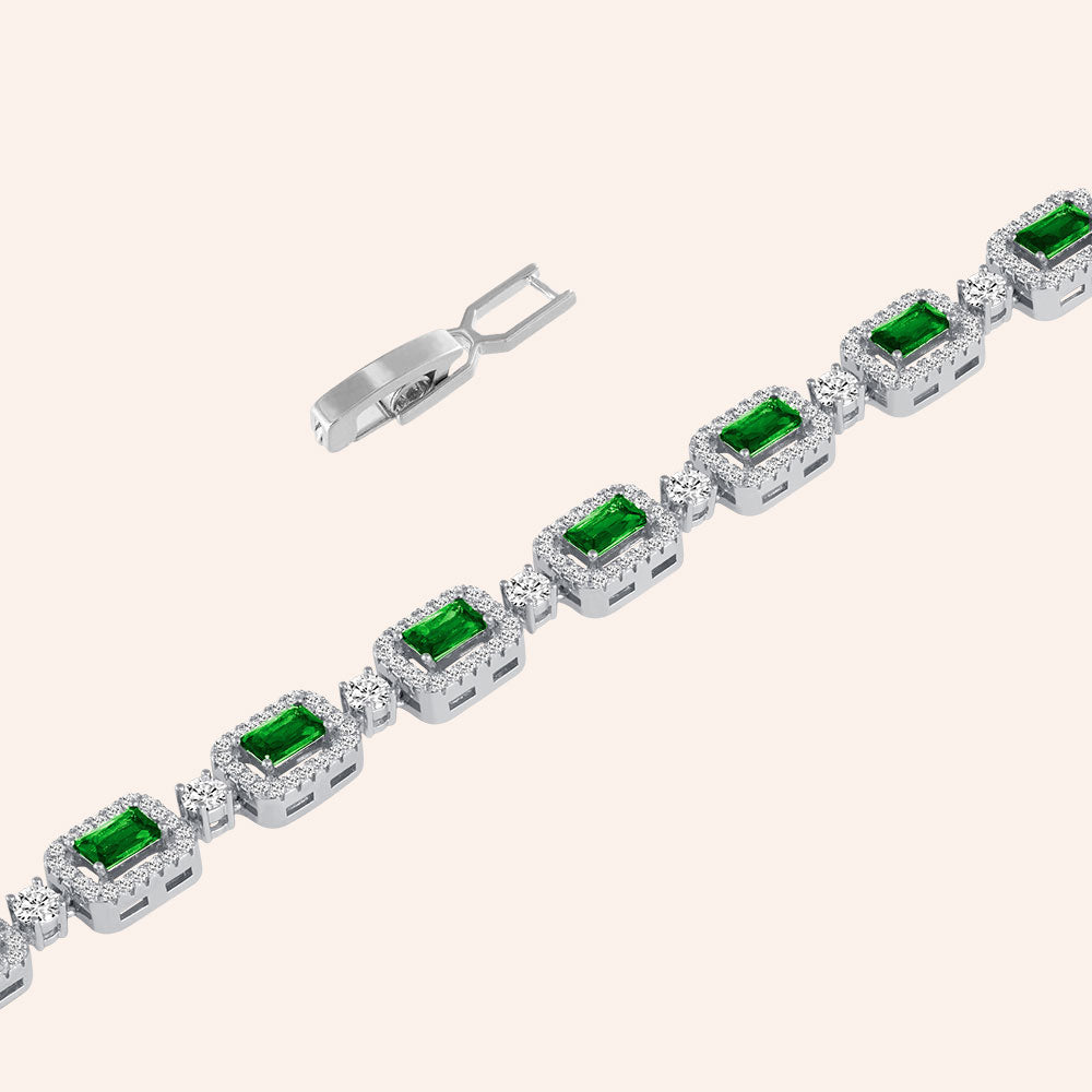 """You're a Gem"" 6.5CTW Emerald and Round Cut Tennis Bracelet - Includes Extender -Silver / Emerald"