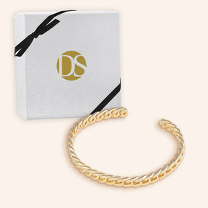 """Cabana"" High Polished Curb Chain Cuff Bracelet - Adjustable - Gold"