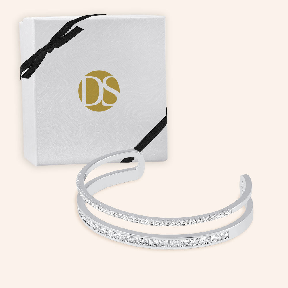 """Deluxe"" 2.5CTW Pave Round and Princess Cut Statement Cuff Bracelet - Adjustable - Silver"
