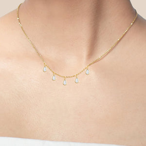 """Gleaming Droplets"" 2.2CTW Bezel-Set Pear Cut Charms Necklace"