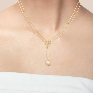 """In the Crowd"" High Polished Open-Links Toggle Choker Necklace - Gold"