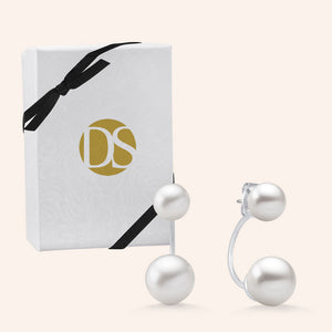 """Loyal Duet"" White Pearls Front Back Earrings - Sterling Silver"