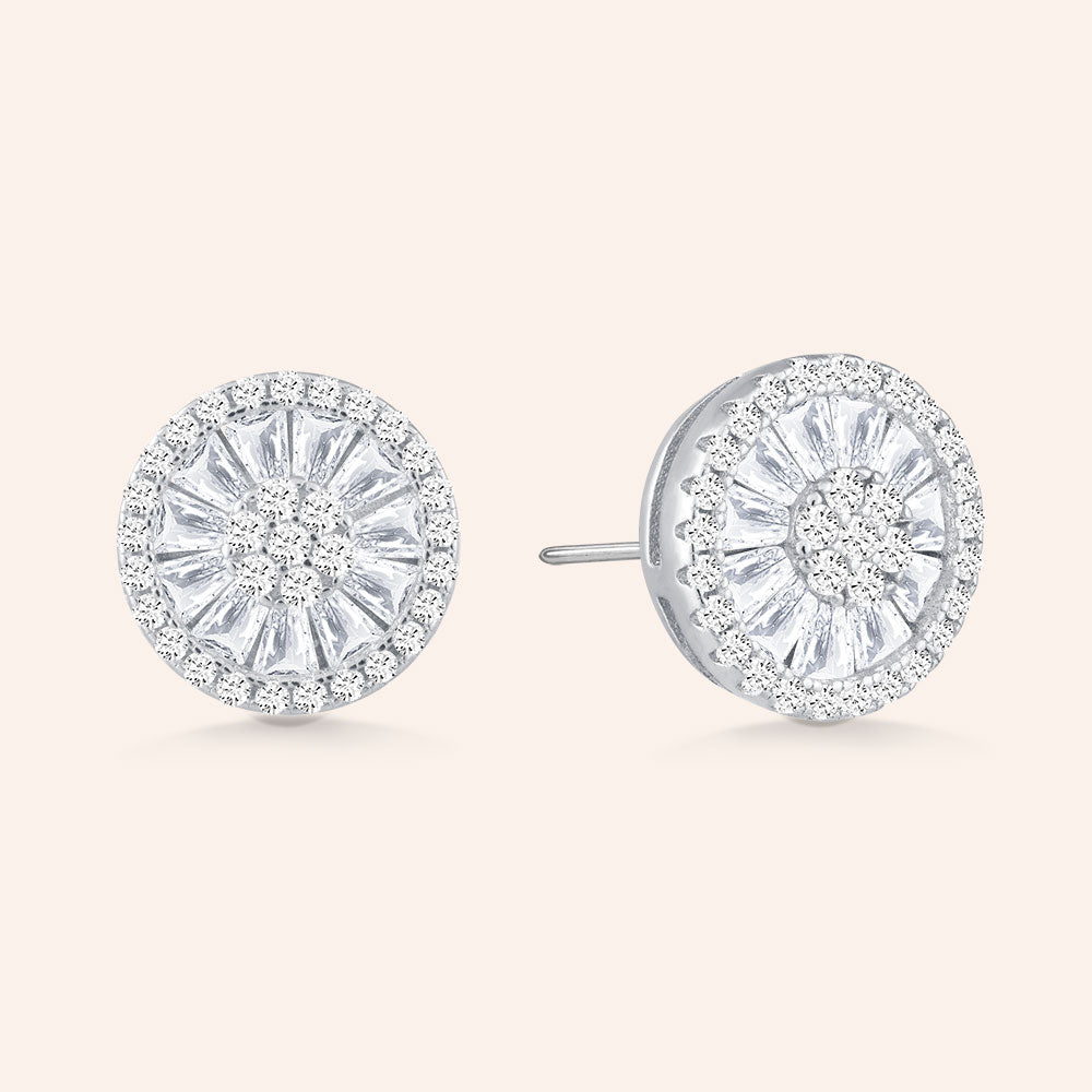 """All of the Lights"" 3.6 CTW Pave Baguette Halo Post Earrings  - Sterling Silver"