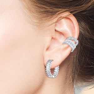 """Trendsetter's"" Set of Two 3.1CTW Baguette and Round Cut Ear Cuffs - Silver"