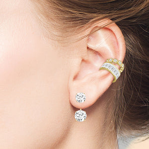 """Trendsetter's"" Set of Two 3.1CTW Baguette and Round Cut Ear Cuffs - Gold"