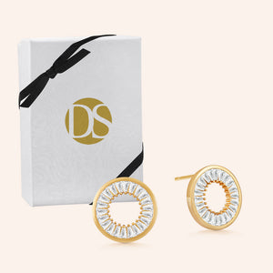 """Scarlett"" 3.8CTW Pave Baguette Open Circle Post Earrings"
