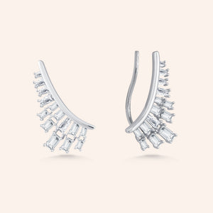 """Glam Reveal"" 3.5CTW Baguette Cut Stones Climber Earrings - Silver"