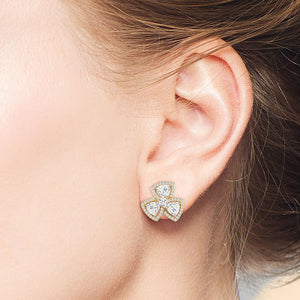 """Madison""  6.8CTW Trillion Cut Halo Flower Stud Earrings"
