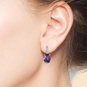 """Nicole"" Oval Cut Amethyst Drop Earrings - Silver"