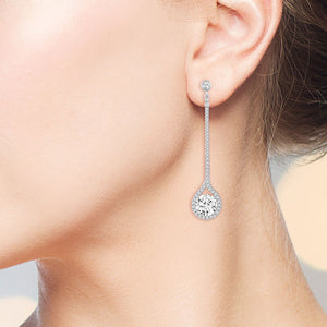 """Runway""  5.5CTW Pave Prong-set Round Cut Dangling Earrings - Silver"