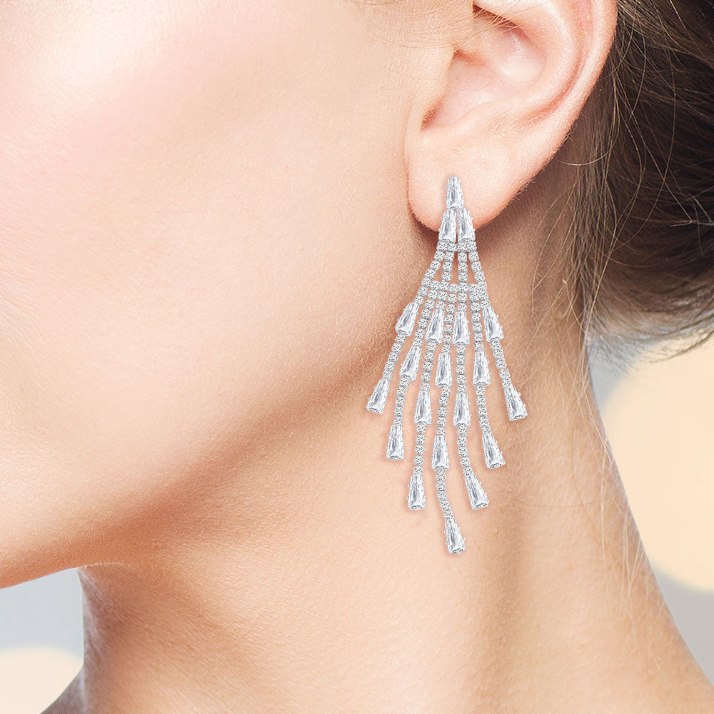 """Dance till Down""  8.2CTW Baguette and Round Cut Statement Drop Earrings - Silver"