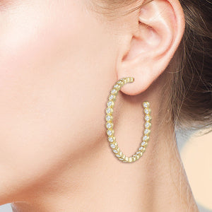"""Grand Lux"" 3.3CTW Inside-Outside Hoop Earrings"