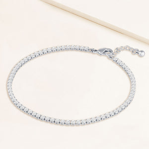 """Now and Forever"" 4.1CTW Prong- Set Round Cut Tennis Anklet - Silver"