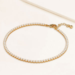 """Now and Forever"" 4.1CTW Prong- Set Round Cut Tennis Anklet - Gold"