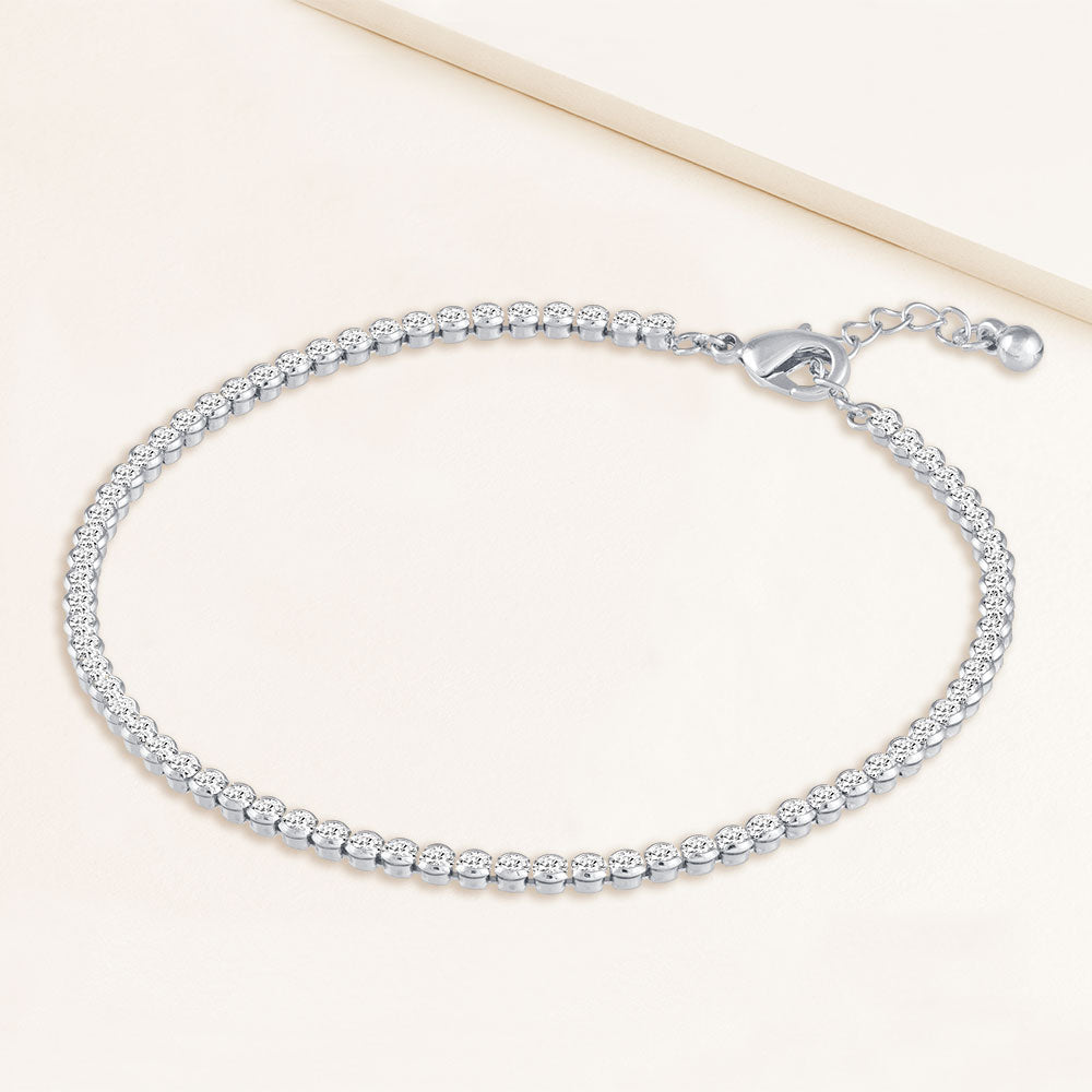 """My Date"" 4.1CTW Bezel- Set Round Cut Tennis Anklet - Silver"