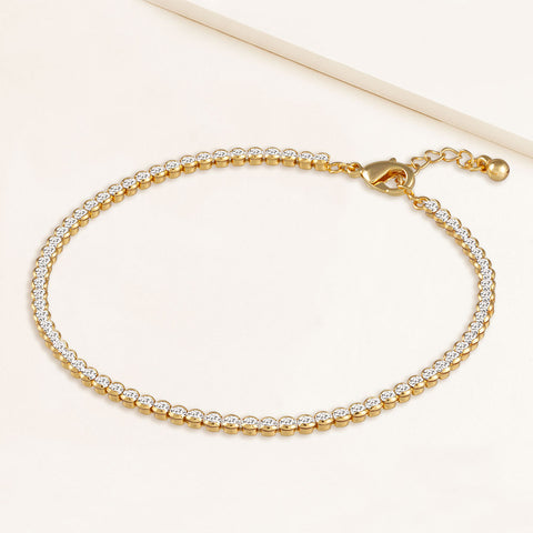 """My Date"" 4.1CTW Bezel- Set Round Cut Tennis Anklet - Gold"