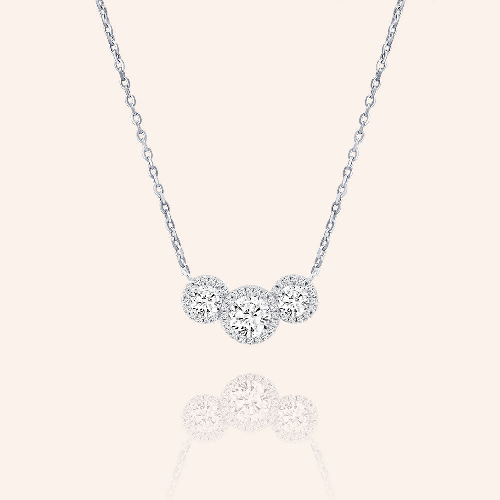 """Rendezvous"" 3.2CTW Round Cut Trio Halo Pendant Necklace - Silver"