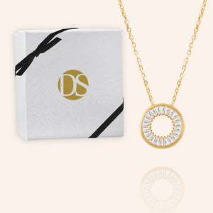 """Scarlett"" 2.9CTW Baguette Cut Open Circle Pendant Necklace"