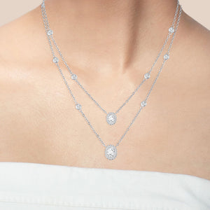 """Daily Double"" 3.8CTW Oval Cut Halo Pendants Duo Layering Necklace - Silver"