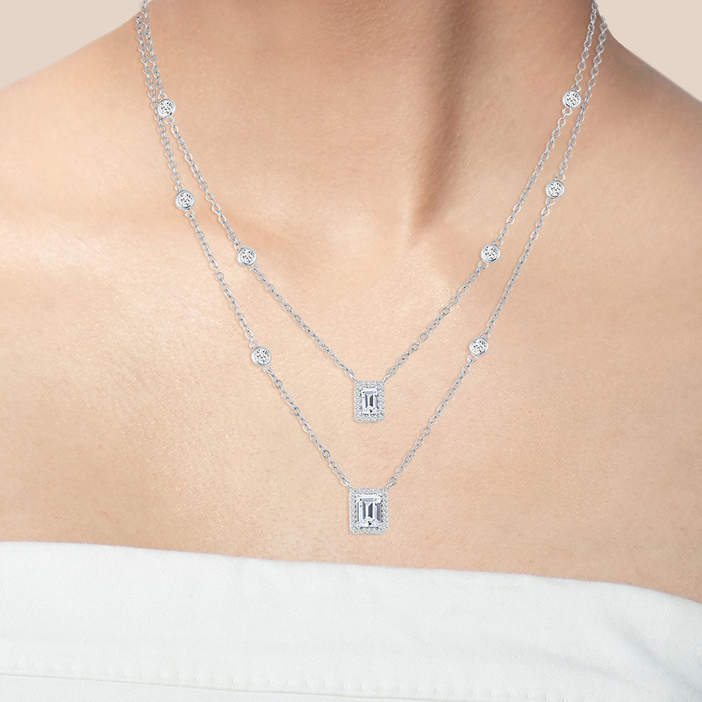 """Daily Double"" 4.6CTW Emerald Cut Halo Pendants Duo Layering Necklace - Silver"