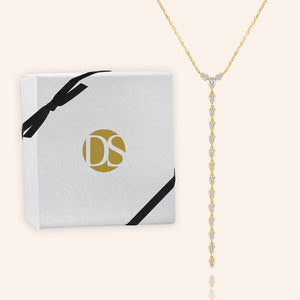 """Invitation Only"" 1.6CTW Pave Baguette Y-Drop Necklace- Gold"