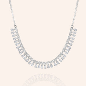 """Occasion Ready"" 12.9CTW Pear and Round Cut Statement Necklace - Silver"