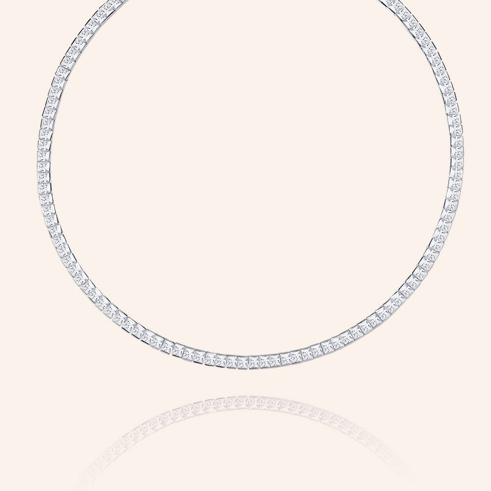 """Estate Splendor"" 31CTW Princess Cut Tennis Necklace - Silver"