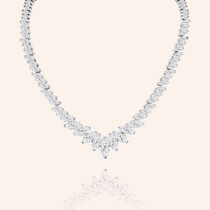 """Beauty Surroundings"" 42CTW Marquise Cut Statement Necklace - Silver"