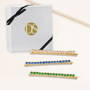 """Full of Possibilities"" Set of Three  Clear, Emerald and Sapphire 4.2CTW Round Cut Cubic Zirconia Hair Pins - Gold"