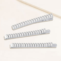 """Feast of Fancy"" 11.2CTW  Set of 3 Baguette Cut Cubic Zirconia Hair Pins and Clip - Silver"