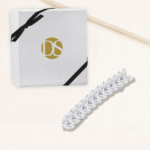 """Couture in Bloom"" 12.7CTW Marquise Cut Cubic Zirconia Hair Barrette - Silver"
