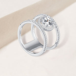 """Lady Like"" 4.2CTW Round Cut  Halo Ring - Silver"