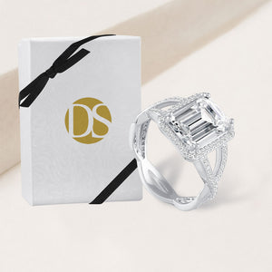 """You're the One"" 5.2CTW Emerald Cut Woven Halo Ring - Silver"